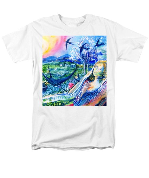 Men's T-Shirt  (Regular Fit) featuring the painting Surprised By A Swallow  by Trudi Doyle