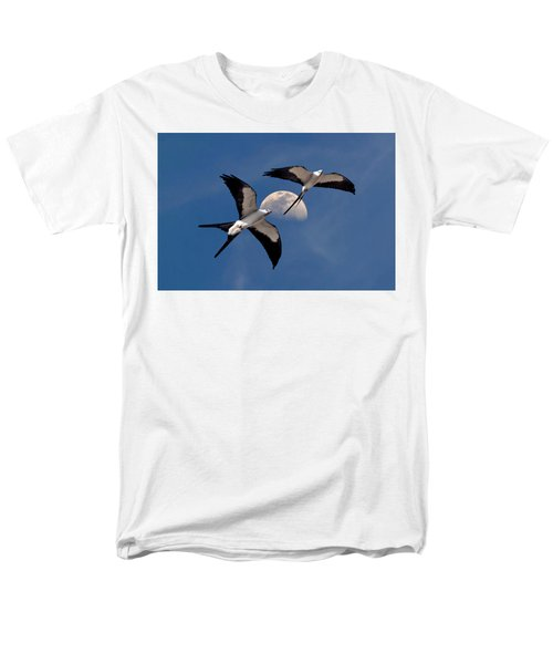 Men's T-Shirt  (Regular Fit) featuring the photograph Swallow Tail Kites In Flight Under Moon by Justin Kelefas