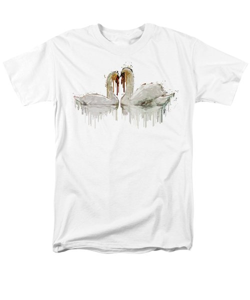 Men's T-Shirt  (Regular Fit) featuring the painting Swan Love Acrylic Painting by Georgeta Blanaru