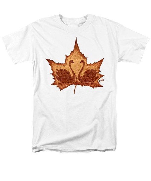 Men's T-Shirt  (Regular Fit) featuring the painting Swans Love On Maple Leaf Original Coffee Painting by Georgeta Blanaru