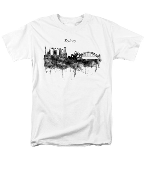 Sydney Black And White Watercolor Skyline Men's T-Shirt  (Regular Fit) by Marian Voicu