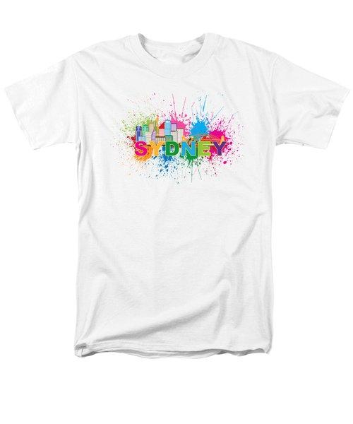 Sydney Harbor Skyline Paint Splatter Text Illustration Men's T-Shirt  (Regular Fit) by Jit Lim