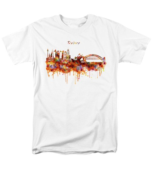 Sydney Watercolor Skyline Men's T-Shirt  (Regular Fit) by Marian Voicu
