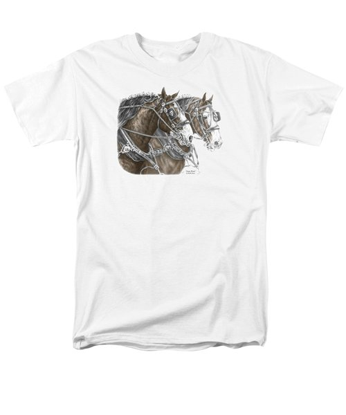 Team Work - Clydesdale Draft Horse Print Color Tinted Men's T-Shirt  (Regular Fit) by Kelli Swan