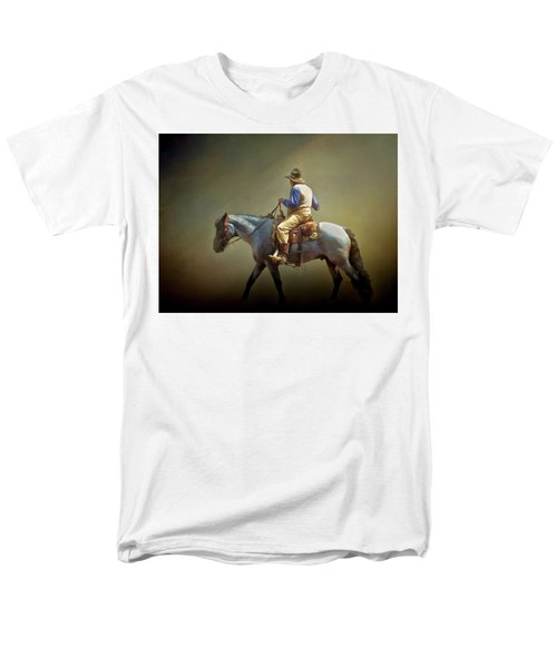 Men's T-Shirt  (Regular Fit) featuring the photograph Texas Cowboy And His Horse by David and Carol Kelly