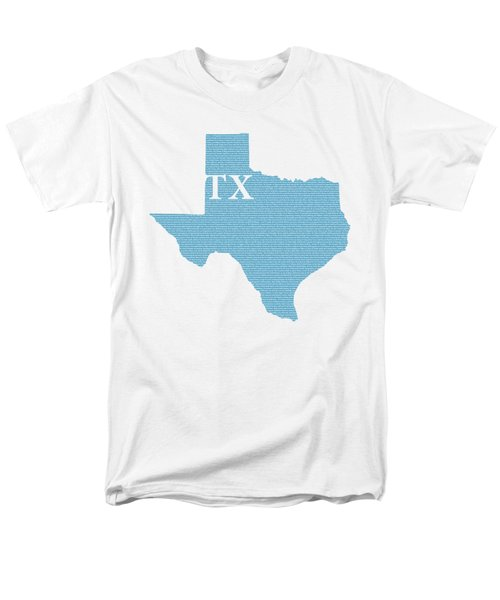 Texas State Map With Text Of Constitution Men's T-Shirt  (Regular Fit) by Design Turnpike