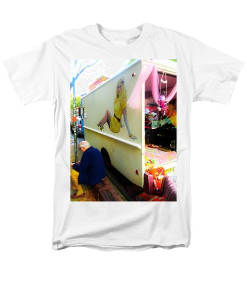 Texting Under Her Watchful Eye  Men's T-Shirt  (Regular Fit) by Funkpix Photo Hunter