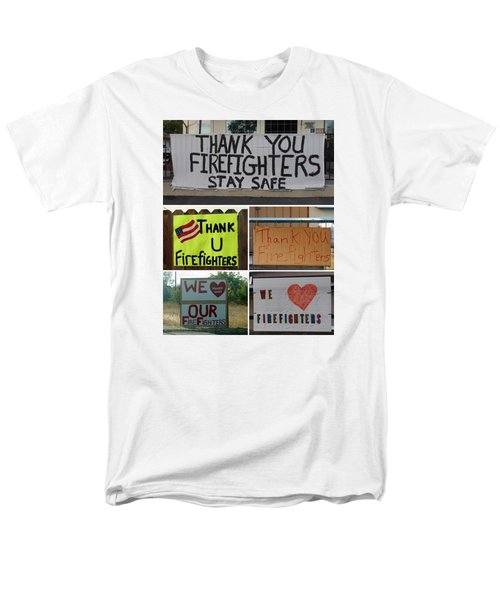 Thank You Firefighters Collage Men's T-Shirt  (Regular Fit) by Patricia Strand