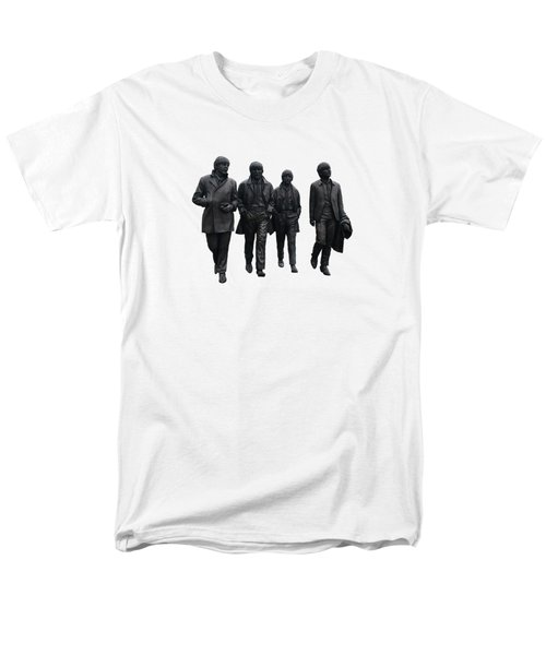 Men's T-Shirt  (Regular Fit) featuring the digital art The Beatles On White by Movie Poster Prints