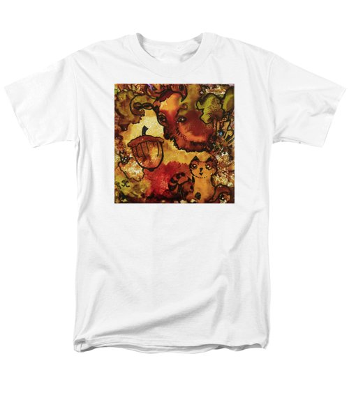 Men's T-Shirt  (Regular Fit) featuring the painting The Cat And The Acorn by Suzanne Canner