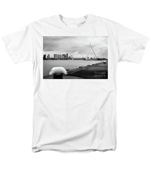 Men's T-Shirt  (Regular Fit) featuring the photograph The Erasmus Bridge In Rotterdam Bw by RicardMN Photography