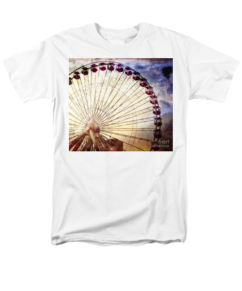 The Ferris Wheel At Navy Pier Men's T-Shirt  (Regular Fit) by Mary Machare