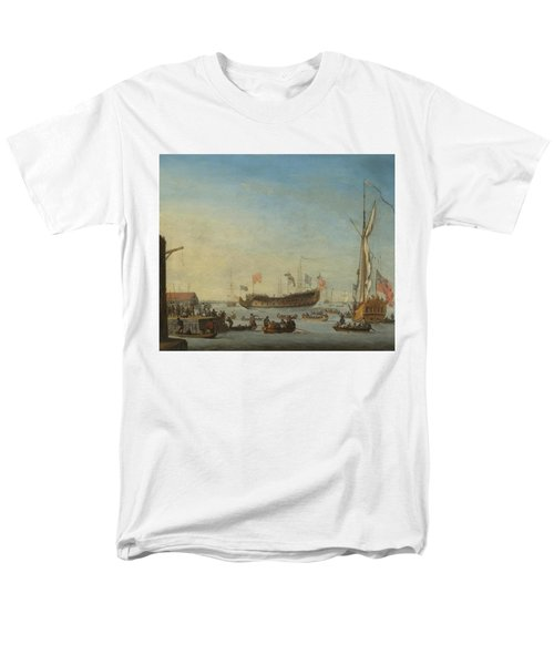 The Launch Of A Man Of War Men's T-Shirt  (Regular Fit) by Robert Woodcock