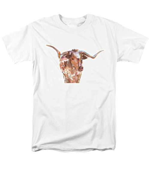 The Original Longhorn Standing Earth Quack Watercolor Painting By Kmcelwaine Men's T-Shirt  (Regular Fit) by Kathleen McElwaine