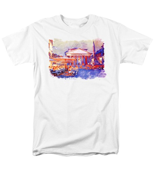 The Pantheon Rome Watercolor Streetscape Men's T-Shirt  (Regular Fit) by Marian Voicu