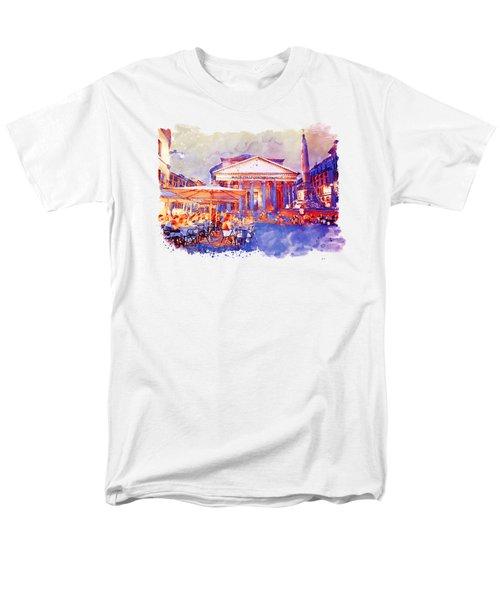 The Pantheon Rome Watercolor Streetscape Men's T-Shirt  (Regular Fit)