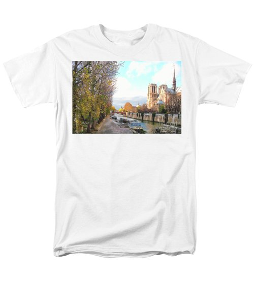 The Seine And Quay Beside Notre Dame, Autumn Men's T-Shirt  (Regular Fit) by Felipe Adan Lerma