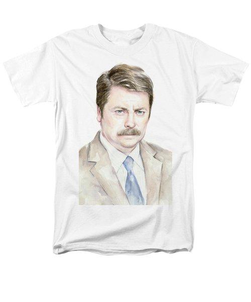 Ron Swanson Watercolor Portrait Men's T-Shirt  (Regular Fit) by Olga Shvartsur