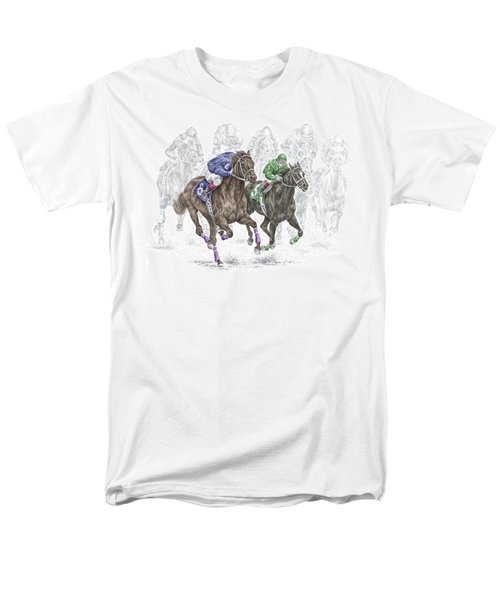 The Thunder Of Hooves - Horse Racing Print Color Men's T-Shirt  (Regular Fit) by Kelli Swan