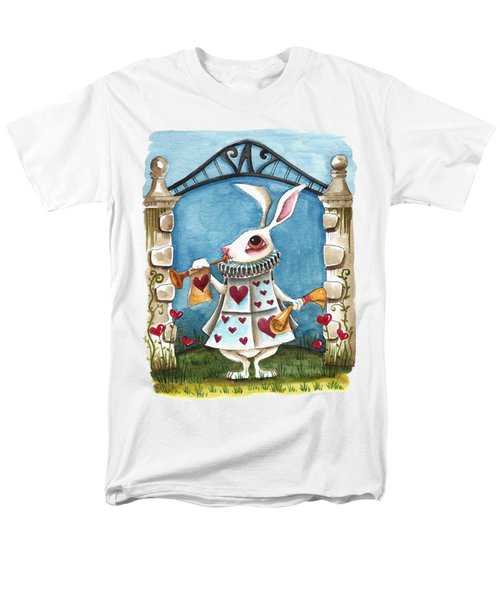 The White Rabbit Announcing Men's T-Shirt  (Regular Fit) by Lucia Stewart