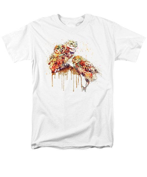 Three Cute Owls Watercolor Men's T-Shirt  (Regular Fit) by Marian Voicu