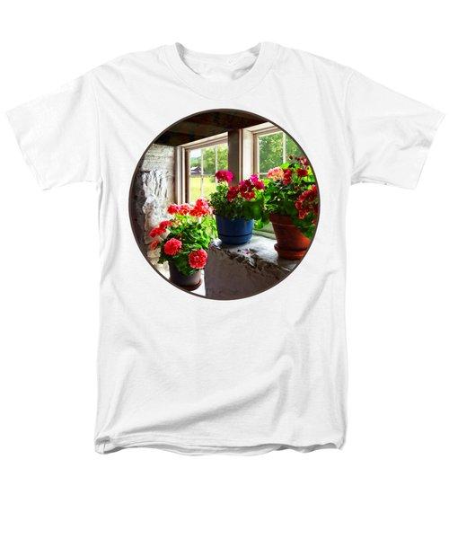 Three Pots Of Geraniums On Windowsill Men's T-Shirt  (Regular Fit) by Susan Savad