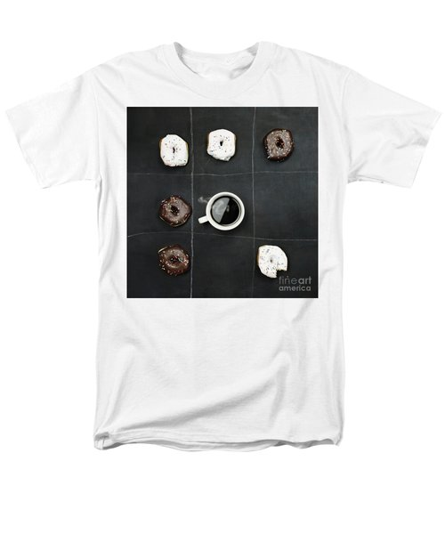 Men's T-Shirt  (Regular Fit) featuring the photograph Tic Tac Toe Donuts And Coffee by Stephanie Frey