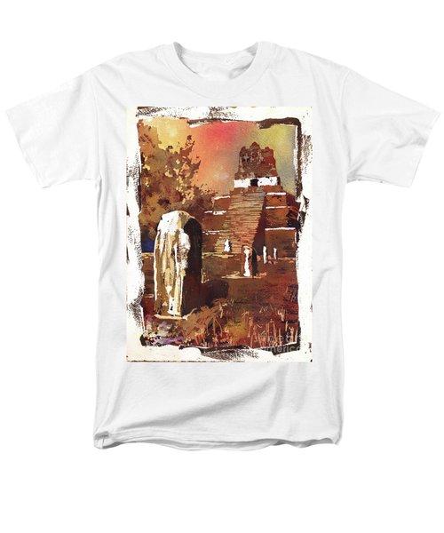 Men's T-Shirt  (Regular Fit) featuring the painting Tikal Mayan Ruins- Guatemala by Ryan Fox
