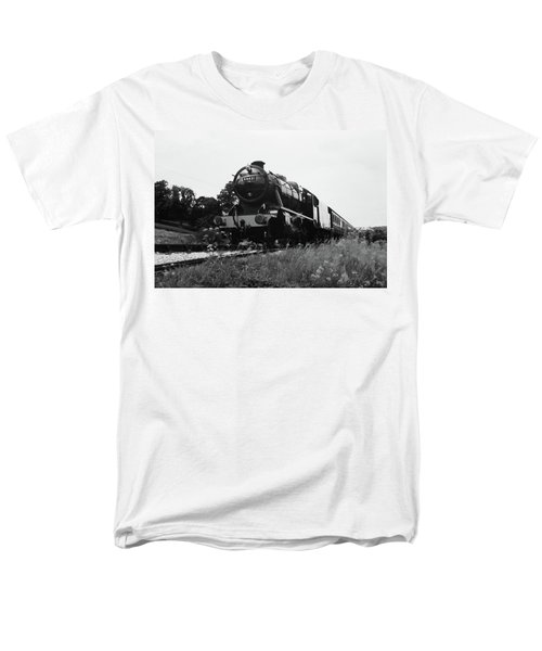 Time Travel By Steam B/w Men's T-Shirt  (Regular Fit) by Martin Howard