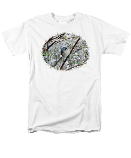 Titmouse On Snowy Branch Men's T-Shirt  (Regular Fit) by Larry Bishop