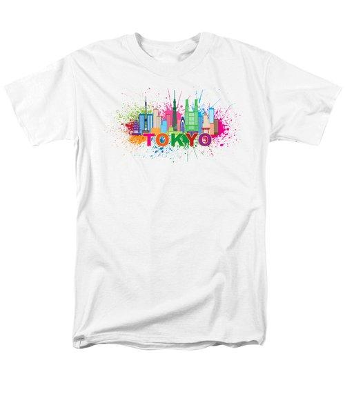Tokyo City Skyline Paint Splatter Illustration Men's T-Shirt  (Regular Fit) by Jit Lim