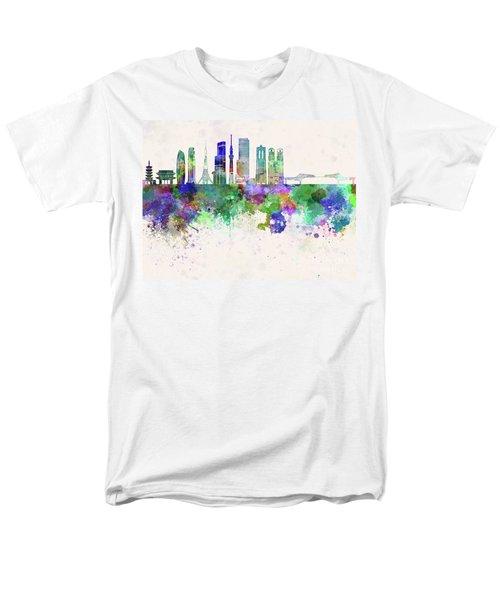 Tokyo V3 Skyline In Watercolor Background Men's T-Shirt  (Regular Fit) by Pablo Romero