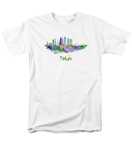 Tokyo V3 Skyline In Watercolor Men's T-Shirt  (Regular Fit) by Pablo Romero