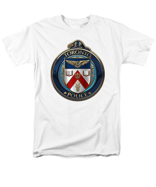 Men's T-Shirt  (Regular Fit) featuring the digital art Toronto Police Service  -  T P S  Emblem Over White Leather by Serge Averbukh