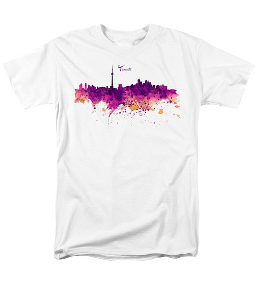 Toronto Watercolor Skyline Men's T-Shirt  (Regular Fit) by Marian Voicu