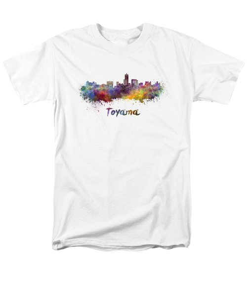 Toyama Skyline In Watercolor Men's T-Shirt  (Regular Fit) by Pablo Romero