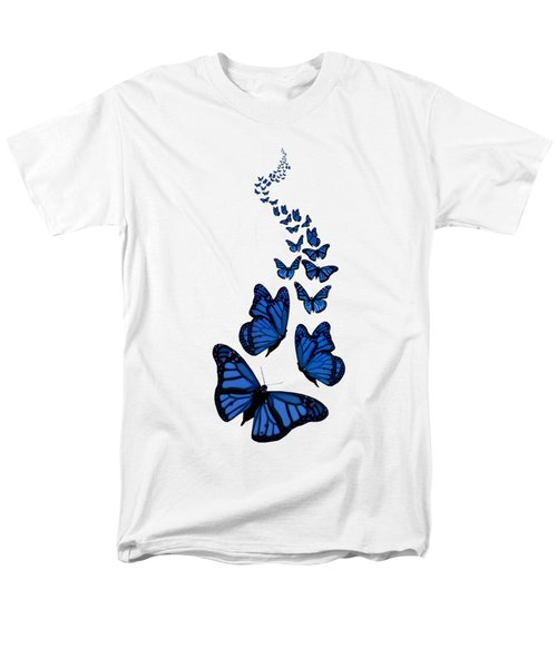 Trail Of The Blue Butterflies Transparent Background Men's T-Shirt  (Regular Fit) by Barbara St Jean