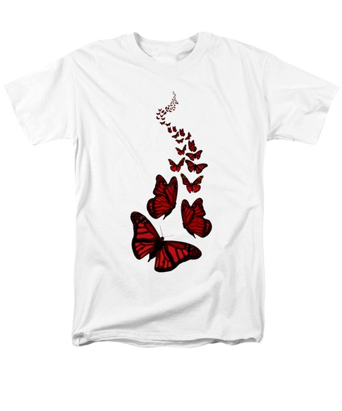 Trail Of The Red Butterflies Transparent Background  Men's T-Shirt  (Regular Fit) by Barbara St Jean