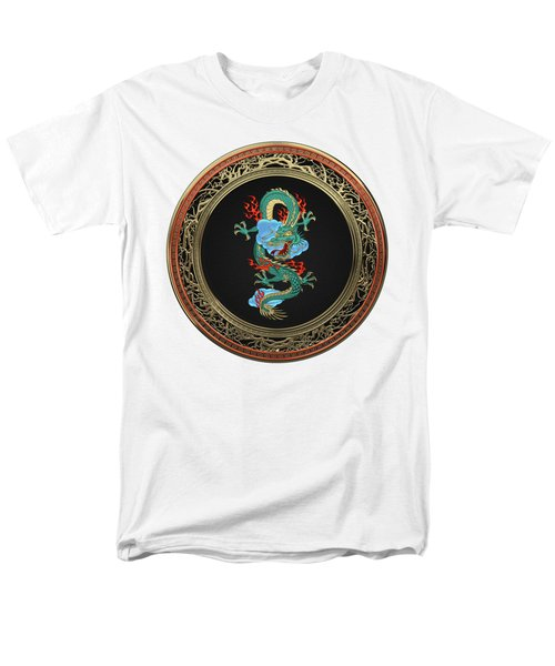 Treasure Trove - Turquoise Dragon Over White Leather Men's T-Shirt  (Regular Fit) by Serge Averbukh