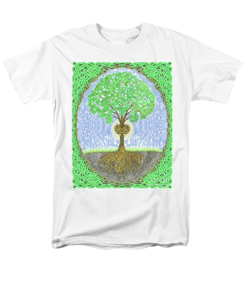 Tree With Heart And Sun Men's T-Shirt  (Regular Fit) by Lise Winne