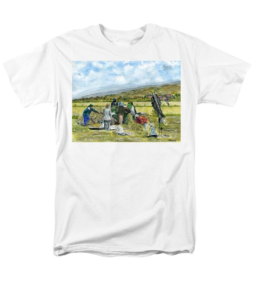 Men's T-Shirt  (Regular Fit) featuring the painting Treshing Rice by Melly Terpening