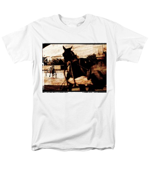 Men's T-Shirt  (Regular Fit) featuring the photograph trotting 1 - Harness racing in a vintage post processing by Pedro Cardona