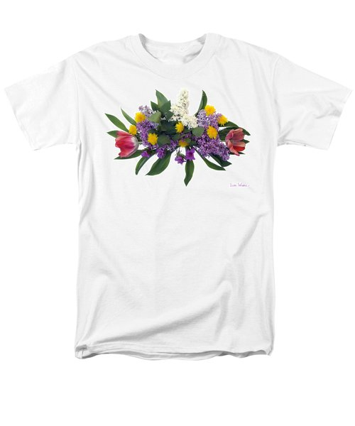Men's T-Shirt  (Regular Fit) featuring the digital art Tulip Lilac And Dandelion Bouquet by Lise Winne