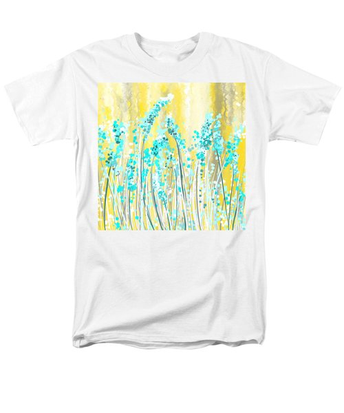 Turquoise And Yellow Men's T-Shirt  (Regular Fit) by Lourry Legarde
