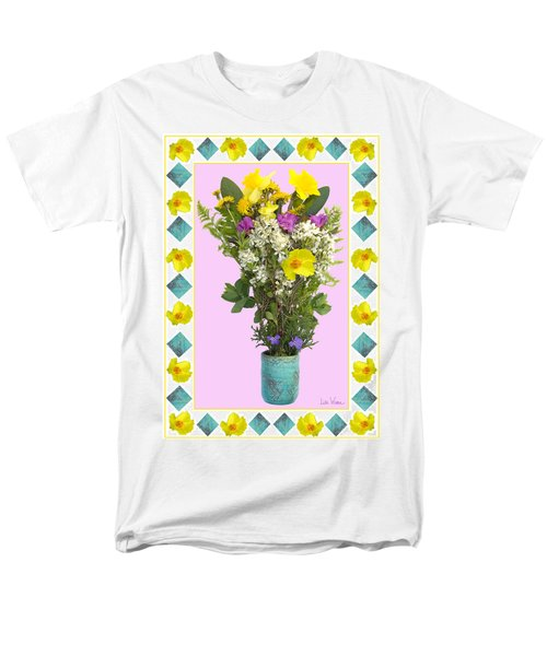 Men's T-Shirt  (Regular Fit) featuring the digital art Turquoise Vase With Spring Bouquet by Lise Winne
