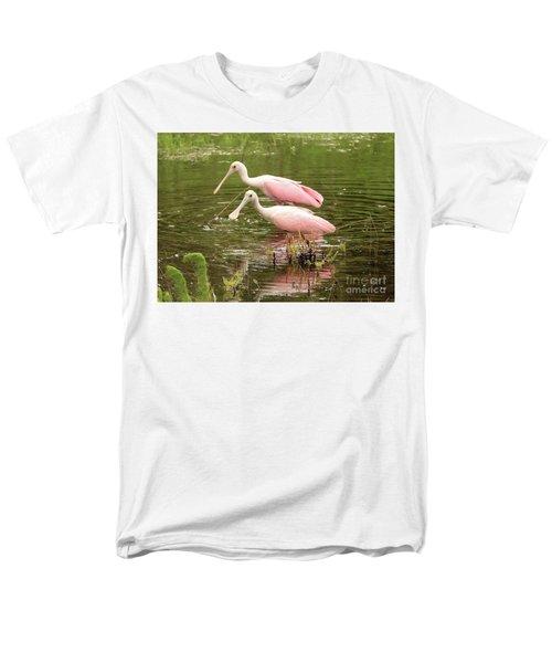Two Spoonbills In Pond Men's T-Shirt  (Regular Fit) by Carol Groenen