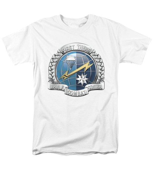 U. S.  Air Force Combat Control Teams - Combat Controller C C T Badge Over White Leather Men's T-Shirt  (Regular Fit) by Serge Averbukh