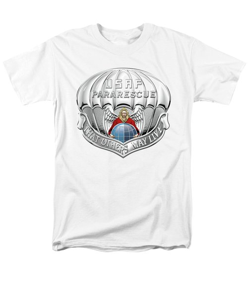 U. S.  Air Force Pararescuemen - P J Badge Over White Leather Men's T-Shirt  (Regular Fit) by Serge Averbukh