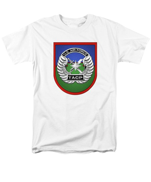 Men's T-Shirt  (Regular Fit) featuring the digital art U. S.  Air Force Tactical Air Control Party -  T A C P  Beret Flash With Crest Over White Leather by Serge Averbukh
