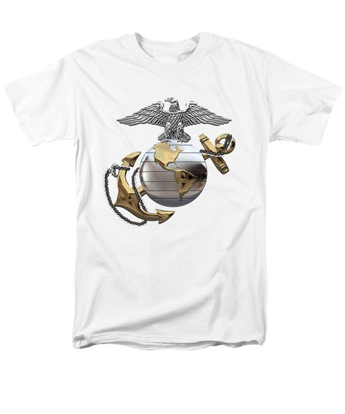 U S M C Eagle Globe And Anchor - C O And Warrant Officer E G A Over White Leather Men's T-Shirt  (Regular Fit) by Serge Averbukh